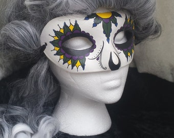 Hand Painted Mardi Gras Paper Mache Mask