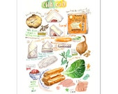 Vietnamese Cha Gio illustrated recipe print, Kitchen art, Food poster, 8X10 print, Vietnamese art, Kitchen wall art, Watercolor painting