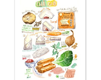 Vietnamese Cha Gio illustrated recipe print, Spring rolls, Kitchen art, Vietnamese food, Kitchen wall art, Watercolor painting, Summer rolls