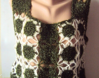 Crochet Top Crochet Blouse in Shimmery Green and Ivory Colors Women's Clothing Fashion Accessories Gift For Her