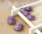 Vintage Lilac Purple Gold Etched Tulips Lucite Beads