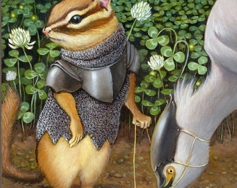 "Chipmunk art- ""Androth Wingrider"" - print 8x10"