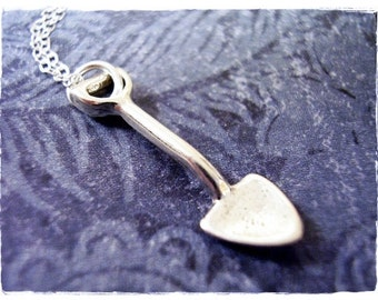 Tiny Silver Shovel Necklace - Sterling Silver Shovel Charm on a Delicate Sterling Silver Cable Chain or Charm Only