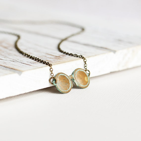 Summer Necklace - Sunglasses Necklace, Patina Brass Pendant Necklace w/ Antiqued Brass Chain, Cute Necklace, Simple Jewelry, Beach Jewelry
