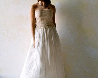 Bridal separates, Simple Wedding Dress, Lace wedding dress, Fairy wedding dress, strapless wedding dress, Silk Bridal gown, golden dress