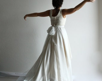Wedding skirt, Bridal skirt, bridal separates, alternative wedding dress, boho wedding dress, tulle skirt, train skirt, blue wedding skirt