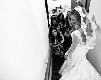 Wedding Veil - Wrist Length Mantilla with Vintage Alencon Lace and  Design at Crown
