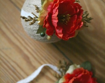 Floral Headband - Fall Headband -  Orange and Neutral Tones - Photography Prop