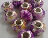 11 Purple/ Yellow Fleck Large 5 mm Hole  Beads fit European Jewelry - Only 1 available 1207