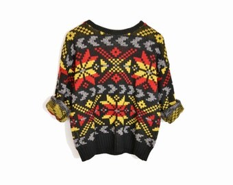 Vintage Black Snowflake Sweater / Tacky Holiday Sweater / Ugly Christmas Sweater - women's small