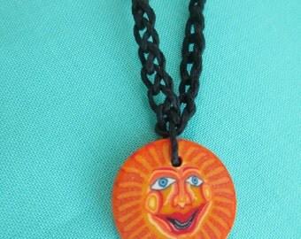 Hemp Necklace ORANGE SUN Shroom Fimo Doublesided Art Pendant - Black Colored Hemp