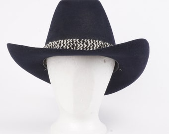 black cowboy hat Billy Kidd by Stetson wool felt 70s 80s vintage western hat 7 1/8