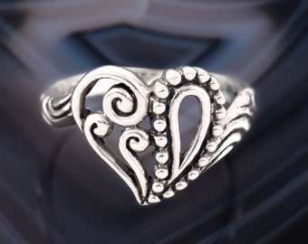 STERLING HEART RING Sterling Silver 925 Western Cowgirl Cowboy Open Work Valentines Promise Ring Size 6.5