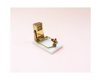 Vintage Brass Perpetual Calendar and Mouse Trap Card Holder