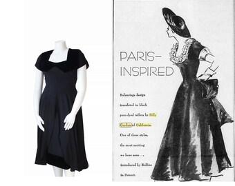 1940s COUTURE Dress • 40s DESIGNER Cocktail Party Dress • Black Evening Gown • M / L Medium Large