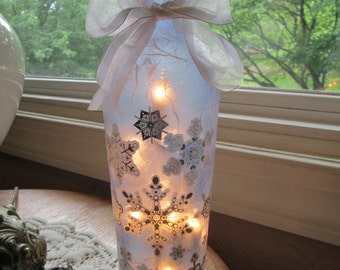 Lighted Bottle - Snowflake lamp, snow, snoflakes, winter, christmas, wine, wine bottle lights, lighted bottles, blue glass lights, lamps