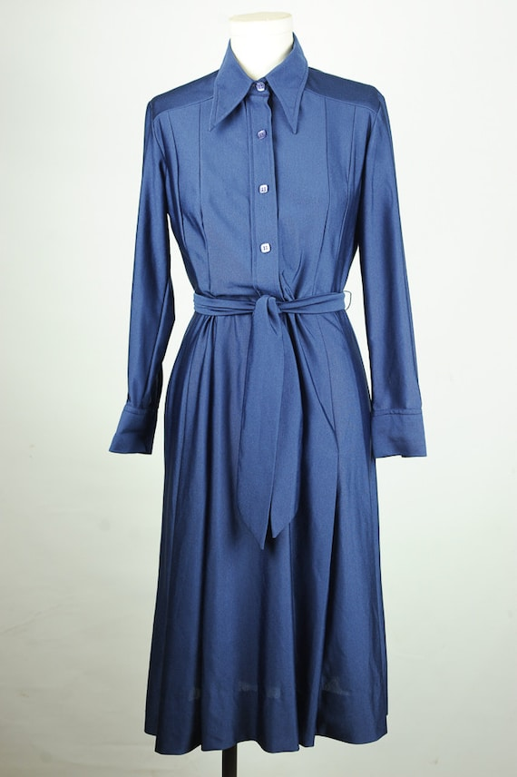 summer sale vintage 70s lanvin blue shirt dress with belt size
