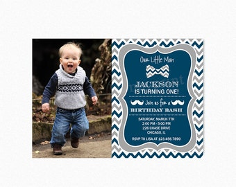 Little Man Birthday Party Invitation, Bow Tie Birthday Party Invitation, Mustache, Blue, Gray, PRINTABLE, PERSONALIZED