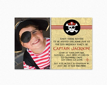 Pirate Birthday Party Invitation, Pirate Party Invites, Red White Stripes, Skull, Compass, Map, Boy, Any Age, Personalized, printable