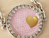 Large Brass Heart Charm Link Bracelet Pink Word Hugs and Kisses with Rhinestones