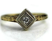 Vintage Engagement Ring Art Deco Promise Ring .10ctw Diamond Ring 14k Two Tone Gold Petite Ring Dainty Ring Estate Ring Size 8!