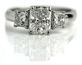 Vintage Diamond Engagement 2.02ctw GIA Certified Radiant Cut Diamond Engagement Ring Vintage Diamond Ring Size 6.5!