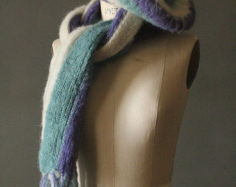 Vintage 70's Cream, Lavender and Pastel Seafoam Knit Scarf and Beret Hat Set, Made in Italy