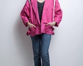 SALE 80s pink jacket diamante rhinestones fuschia batwing oversized vintage M MEDIUM