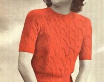 Fun Fan Pattern Ladies 1940s Jumper Petite 32 to 34 Bust Sirdar 1166 Vintage Knitting Pattern Download