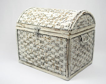 Woven Bamboo Round Top Small Trunk Hand Painted and Distressed White