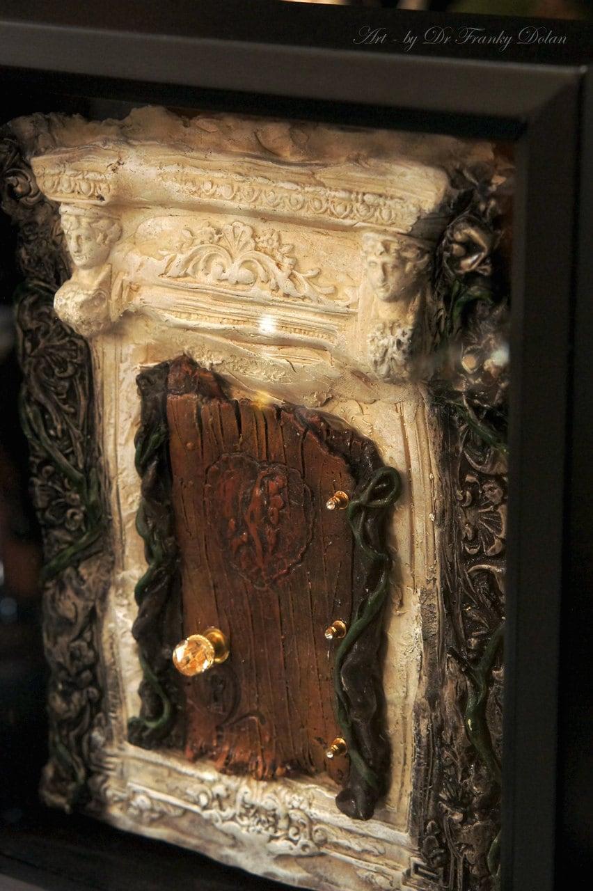 Fairy door secret fortress faerie dream door sculpture for Secret fairy doors by blingderella