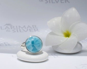 Larimarandsilver ring size 7, Mermaids World - sea blue Larimar round, aquamarine ring, blue round ring, sea world, handmade Larimar ring