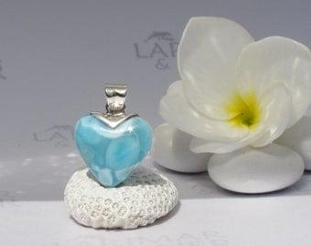 Larimar pendant, Dolphin Heart - turquoise Larimar heart, sea blue heart, blue stone heart, cerulean heart, dolphin stone, handmade choker