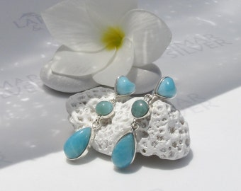 Larimarandsilver earrings, Summer Love 5 - Caribbean blue Larimar hearts, teal blue, sea blue, silver earrings, handmade Larimar earrings
