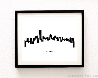 Miami Skyline Print - Miami Cityscape Print - Miami Art Print - Miami Wall Art - Miami Florida Art - Aldari Art