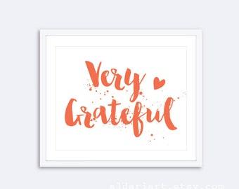 Very Grateful - Coral and White Typographic Art Print - Modern Wall Art - Aldari Art