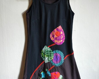 Floral Applique Tunic - Colorful Indian cotton Tunic dress, sleeveless ethnic summer dress size S