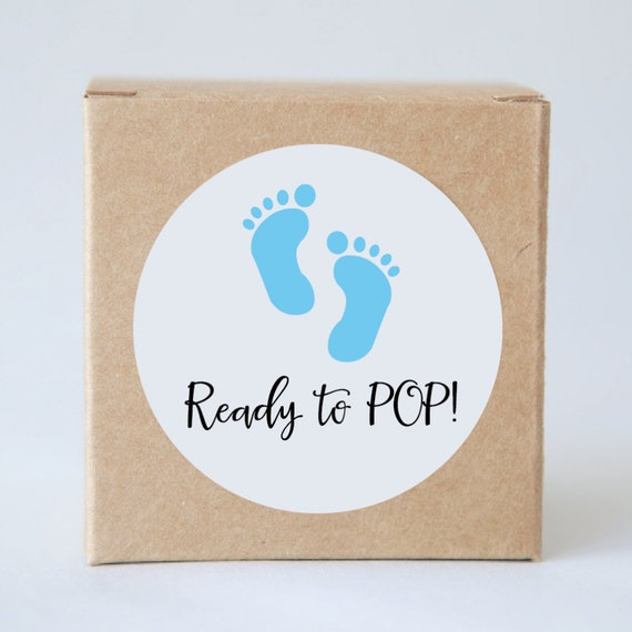 READY TO POP Baby Shower Stickers 60mm | Label Tags, Birthday Party, Bonbonerie, Thank You Adhesive, Minimalist, Baby Feet, Blue, Pink