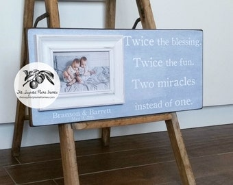 Twins Gift, Twin Frame, Twins First Birthday, Boy Girl Twins, Expecting Twins, Twice The Blessing Twice the Fun, 8x20 The Sugared Plums