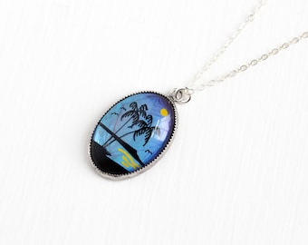 Vintage Sterling Silver Blue Morpho Butterfly Wing Pendant Necklace - 1940s Iridescent Teal Violet Souvenir Palm Tree Tropical Beach Jewelry