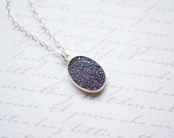 Necklace, Druzy Necklace, Crystal Necklace, Purple Necklace, Silver Necklace, Handmade Necklace, Gemstone Necklace, Oval Pendant, Gift