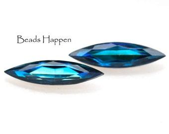 24x6mm Bermuda Blue Glass Navettes, 24x6 Navettes, Czech Republic, Quantity 2