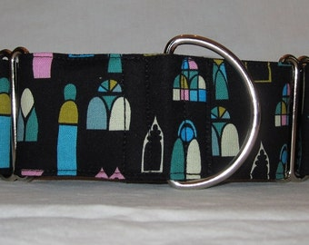Stain Glass Martingale Dog Collar - 1.5 or 2 Inch - colorful windows church cathedral spiritual inspired