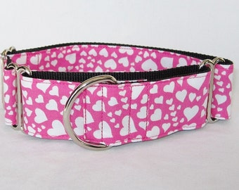 Floating Heart Martingale Dog Collar - 1.5 or 2 Inch - pink white valentines day love fun cute