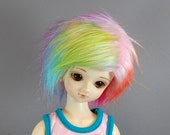 7/8 Faux (Fake) Fur Wig in Pink & Multiple Pastels for MSD Boy and Girl BJDs
