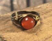 size 7.75 , 7 3/4 - Red orange Carnelian stone , antique brass gold wire wrapped ring - gemstone wrap metaphysical women men unisex jewelry