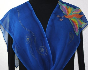 Butterfly Hand Painted Scarf. Blue Chiffon Silk Shawl SPRING BUTTERFLIES, in 2 SIZES. Handmade Birthday Gift. Christmas Gift