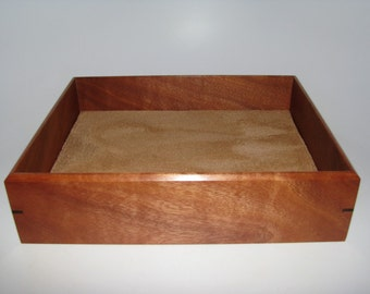 "Exotic Valet Box. Wooden Tray Upholstered in Suede Fabric. 9.5"" x 7.25"" x 2"". Dresser Box."