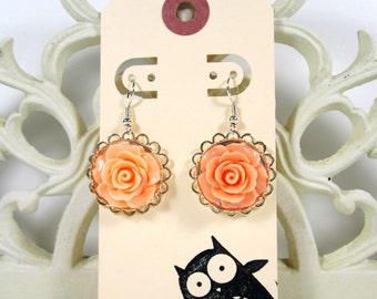 Sweet Peach Rose Cabachon Silver Drop, Dangle Earrings, Handmade