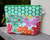 Floral and Polka Dot Makeup Pouch - Pink and Green Padded Zip Pouch - Purse Organizer -Christmas Gift - Friend Teacher Gift Stocking Stuffer